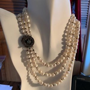 Jewelry - Pearl necklace and  sterling silver clasp.